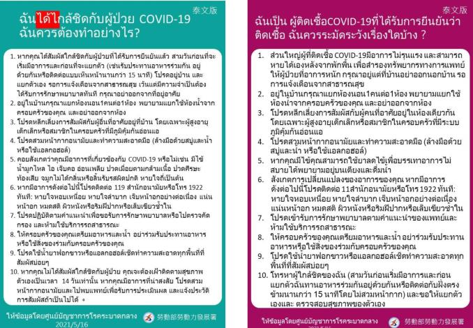 COVID-19確診及接觸者注意事項(泰文)