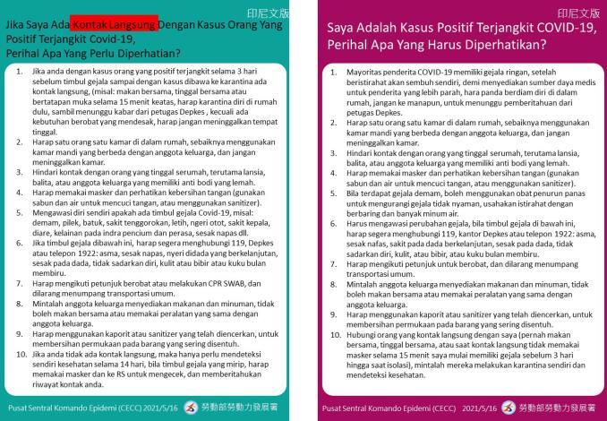 COVID-19確診及接觸者注意事項(印尼文)