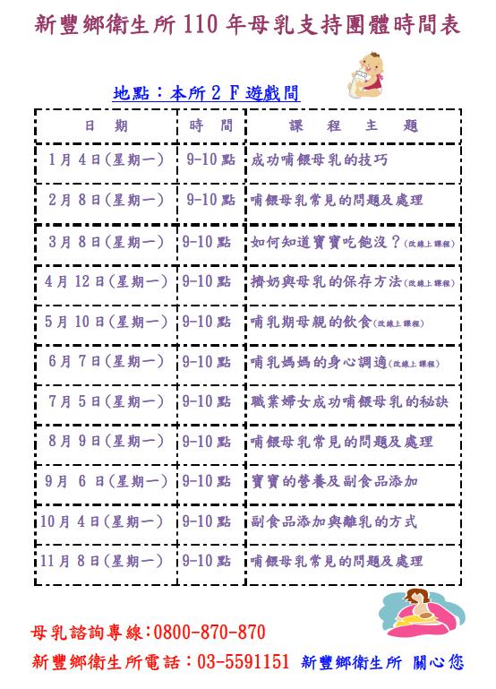 新豐衛生所110年母乳持團體時間表